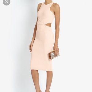 NWOT Ronny Kobo Pink Megan Cut Out Rib Dress